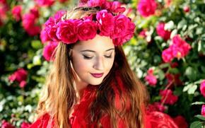 Picture girl, light, flowers, face, roses, makeup, beautiful, bokeh