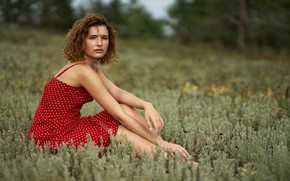 Picture dress, redhead, look, floor