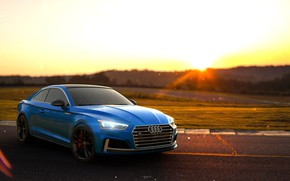 Picture Audi, Auto, Blue, Machine, Light, Coupe, Rendering, Audi S5, by Mikhail Nikolaev, Mikhail Nikolaev, Audi …