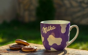 Picture cookies, Cup, still life, brand, Milka