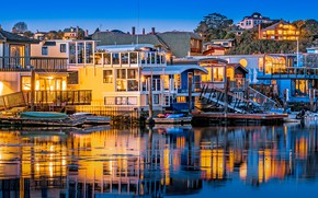 Picture trees, lights, river, shore, home, boats, the evening, lights, CA, USA, piers, Sausalito