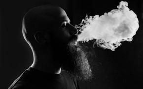Picture smoke, beard, peeling