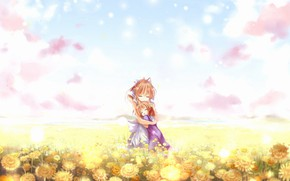 Picture summer, vacation, meadow flowers, flower field, hug, friend, blue sky, pink clouds, Clannad, Clannad, Ushio …
