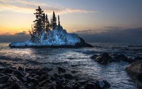 Picture Winter, morning, Lake Superior