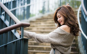 Picture girl, Asian, sweater, bokeh