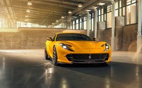 Picture machine, light, yellow, lights, hangar, Ferrari, drives, stylish, sports, Superfast, 812, by Novitec