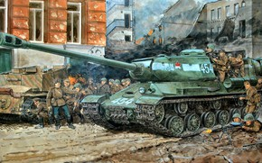 Picture art, Soldiers, USSR, Tank, The is-2, The great Patriotic war, Heavy, The Red Army, WWII, ...