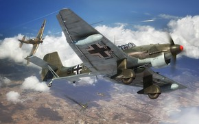 Picture attack, dive bomber, Air force, single double, Junkers Ju87R-2/B-2 Stuka