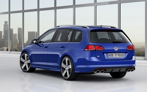 Picture blue, Volkswagen, back, universal, 2014, Golf R Estate