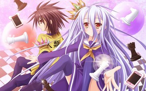 Picture anime, chess, art, girl, guy, two, a couple, No Game No Life, No game no …