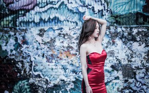 Picture sexy, pose, wall, graffiti, model, portrait, makeup, figure, dress, brunette, hairstyle, Asian, is, beautiful, in …
