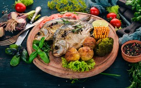 Picture food, fish, vegetables, spices, potatoes, cutting Board, baked, Basil