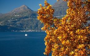 Picture autumn, mountains, ship, Italy, lake Como, Varenna