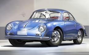Picture Car, Retro, Sketch, Porsche 356, Alexander Sidelnikov