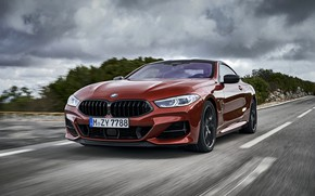 Picture road, clouds, coupe, BMW, Coupe, 2018, 8-Series, dark orange, M850i xDrive, Eight, G15