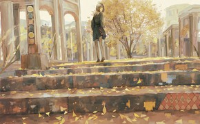 Picture autumn, girl, the city