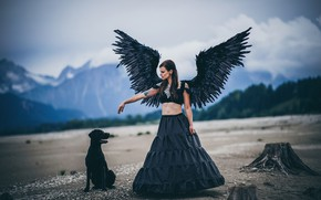 Picture girl, mountains, woman, wings, dog, angel, black
