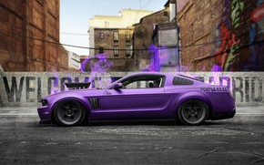 Picture Auto, The city, Machine, Purple, Ford Mustang, Purple, Side view, Transport & Vehicles, Javier Oquendo, …