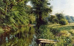Wallpaper Reflections of spring, Reflections of spring, 1908, Peder Mørk Mønsted, Peter Merk Of Menstad, Danish ...
