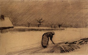 Picture Vincent van Gogh, Woman with a Fork, in a Winter Landscape