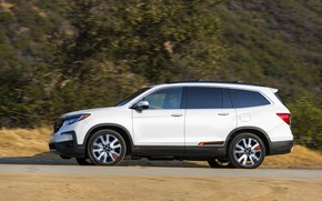 Picture white, Honda, side view, SUV, Pilot, Elite, 2019