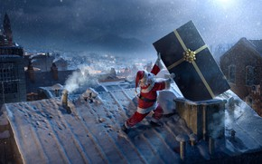 Picture Winter, Night, The city, Snow, New Year, House, City, Roof, Holiday, Santa Claus, Art, Night, …