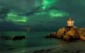 Picture sea, the sky, landscape, night, clouds, stones, shore, lighthouse, stars, Norway, The Lofoten Islands, Lofoten