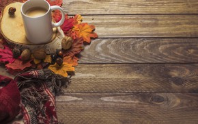 Picture autumn, leaves, background, tree, coffee, colorful, scarf, Cup, wood, background, autumn, leaves, cup, coffee, autumn, …