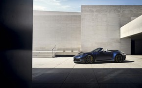 Picture blue, wall, 911, Porsche, convertible, Cabriolet, Carrera 4S, 992, 2019