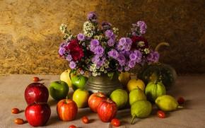 Picture flowers, apples, bouquet, pumpkin, fruit, still life, vegetables, pear, flowers, fruit, still life, vegetable