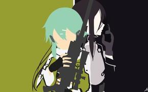 Picture girl, minimalism, guy, vector graphics, Sword Art Online, Kirito, Sword Art Online, Sinon