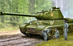 Picture forest, grass, tank, sledgehammer, Soviet, Heavy, dirt road, upgraded, THE IS-2M