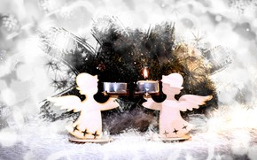 Picture winter, holiday, candles, angels, Christmas, New year, needles, silhouettes, figures, bokeh, Christmas decorations, Christmas decorations, …