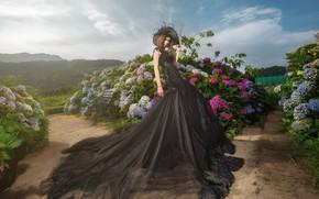 Wallpaper Asian, dress, hydrangea, model, the bushes, garden, pose, Park, style, hat, flowers