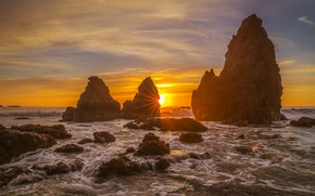 Picture sea, wave, the sky, clouds, rays, light, landscape, sunset, yellow, bright, stones, the ocean, rocks, …