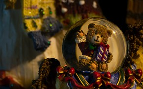 Picture holiday, toy, ball, bear, Christmas, New year, bear, Christmas decorations, новогодние декорации
