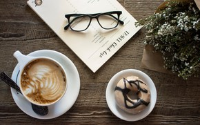 Picture paper, table, coffee, glasses, spoon, Bouquet, cappuccino, price, coffee, spoon, glasses, paper, cappuccino, table, Bouquet, …
