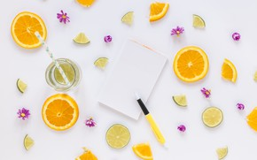 Picture orange, citrus, drink, flowers, slices, drink