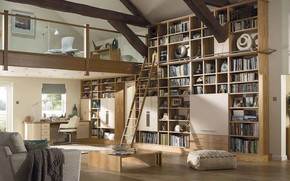 Picture interior, library, living room, living space