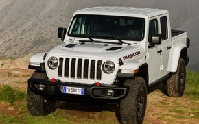Picture white, SUV, front, pickup, Gladiator, 4x4, Jeep, Rubicon, 2019