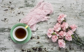 Picture flowers, pink, wood, pink, carnation, flowers, cup, coffee, a Cup of coffee