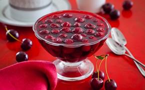 Picture cherry, jam, spoon