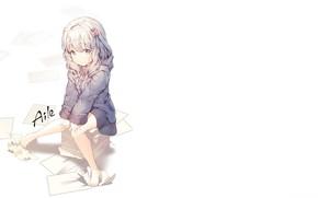 Picture girl, white background, stack, blue eyes, long white hair, EroManga-Sensei, Sagiri Izumi, Erromango-Sensei, paper