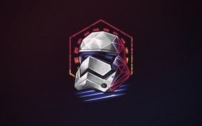 Picture Minimalism, Figure, Star Wars, Background, Art, Art, Neon, Stormtrooper, 80's, Synth, Retrowave, Synthwave, by Vincenttrinidad, …