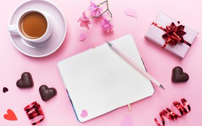 Picture candy, handle, hearts, Notepad, Valentine's day