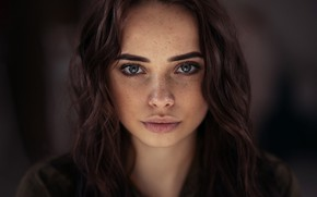 Picture look, close-up, face, background, model, portrait, makeup, hairstyle, brown hair, bokeh, Lilia, Andrey Firsov