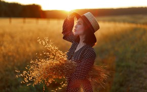 Picture girl, light, nature