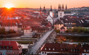 Picture road, sunset, bridge, building, Germany, Cathedral, Würzburg