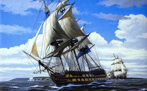 Picture sea, art, painting, ship