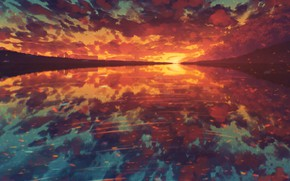 Picture water, sunset, nature, by Miloecute